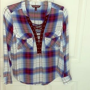 LONG SLEEVE FLANNEL SHIRT FROM EXPRESS SIZE  XS